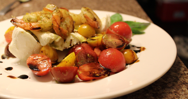 Sautéed Shrimp with Mozzarella, Basil and Tomato