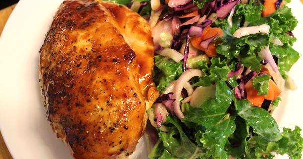 Glazed Chicken Breast With Kale Salad