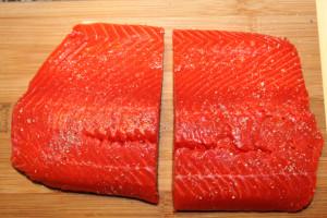 salmon cut in half