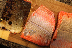 skin removed from salmon