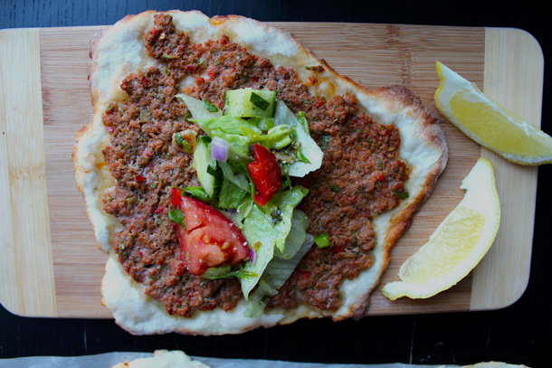 Lahmacun with fattoush salad