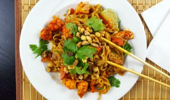 Chicken and Rice Noodles with Peanut Sauce