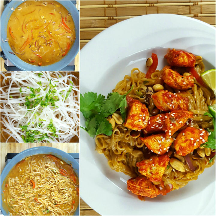 siracha chicken with rice noodles