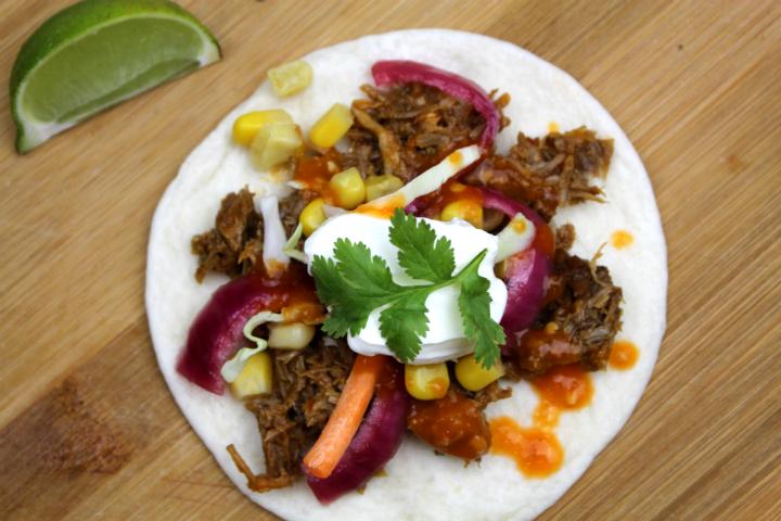 pork tacos with sour cream
