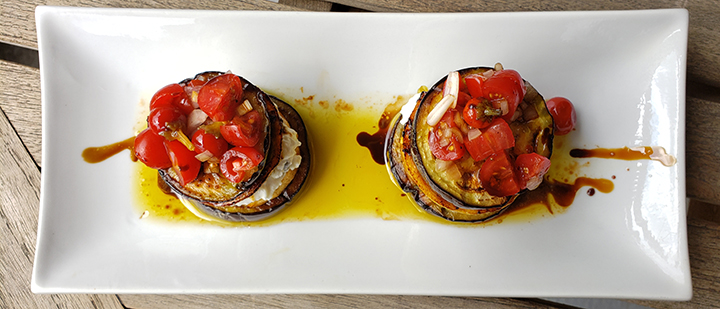 eggplant towers with balsamic