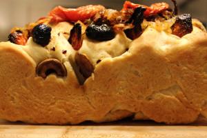 side angle of focaccia bread